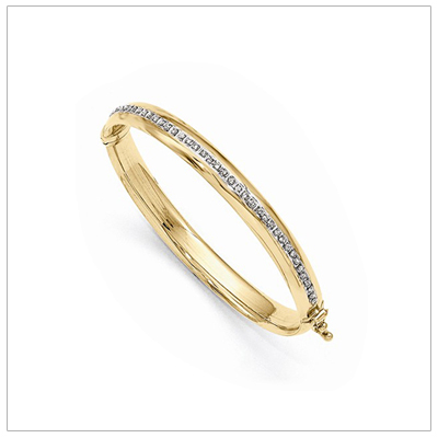 14kt Gold and Diamond Bangle Bracelets for toddlers and children with a full row of diamonds