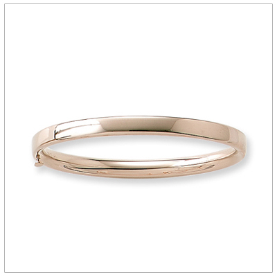 14kt Polished Gold Bangle Bracelets 5.25 inches with safety clasp sized for children