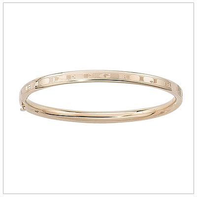 14kt Gold Bangle Bracelet 4.5 inches with engraved alphabet all around sized for babies