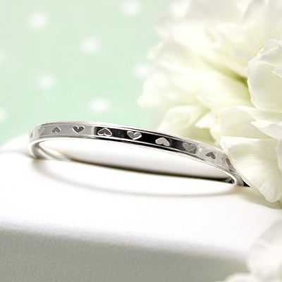 White Gold Hearts Bangle Bracelet 5.25 inches inches with engraved hearts all around for kids