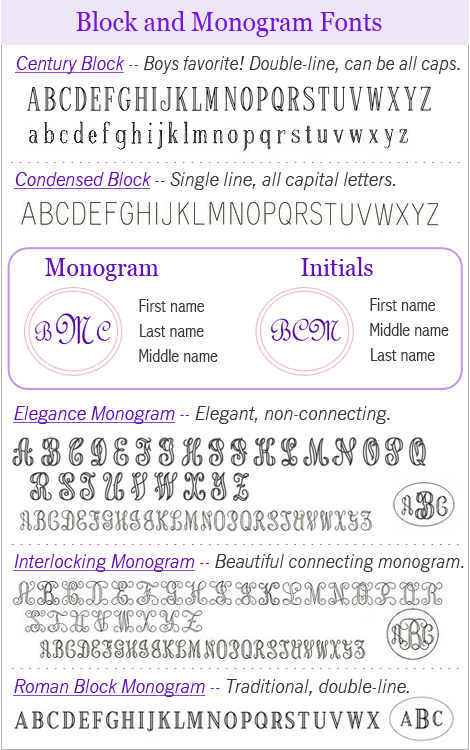 Block and monogram engraving fonts for personalized necklace.