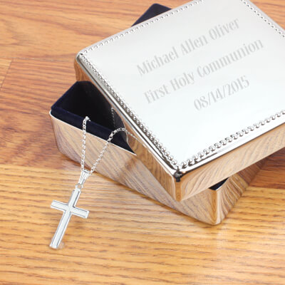 Boys gift set with sterling silver Cross necklace and engraved gift box with beaded trim. First Communion, Confirmation gift for boys.