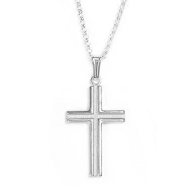 Boys sterling silver Cross necklace with polished and textured finish. Sterling chain included, 2 lengths available.