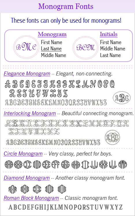 Monogram engraving fonts