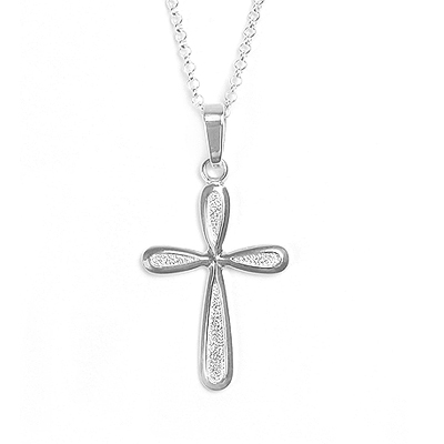 Sterling silver Cross necklace for girls with a polished and textured finish. The Cross has a beautiful rounded design and is available in 2 chain lengths.