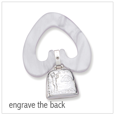 Personalize the back of our sterling silver rattle/teether for baby boys. Beautiful baby gift with personalization.