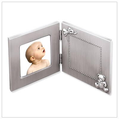 Adorable new baby gift, our pewter finish teddy bear frame includes custom engraving.