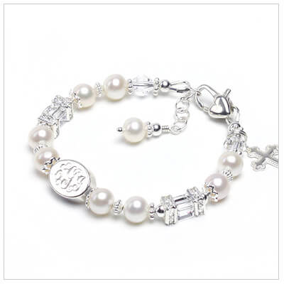 Engraved pearl bracelet for girls with sparkling cz rondelles, cube crystal, and cultured pearls.