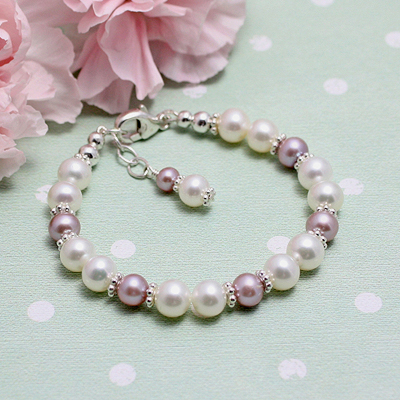 Pearl Bracelet in two pearl colors for babies and toddlers and children