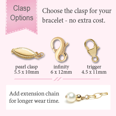 Clasp options for gold baby and children's bracelets.