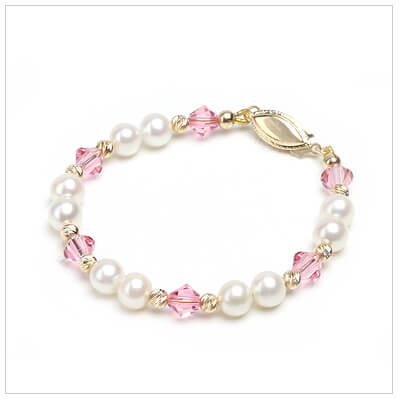 Beautiful gold baby bracelets with soft pink crystals and fine cultured pearls and a variety of 14kt gold clasp options.