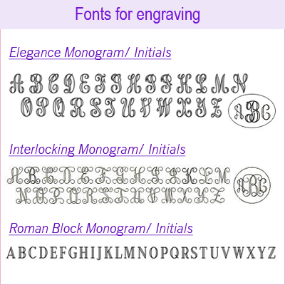 Font options for engraving baby bracelet.