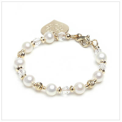 14kt gold baby bracelet with white cultured pearls, diamond cut sparkle beads, and clear crystal.