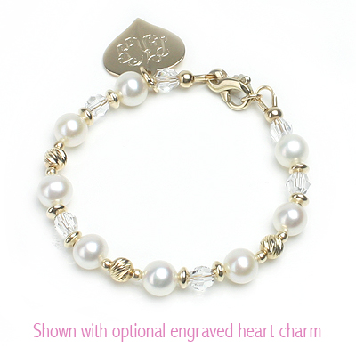 14kt gold and pearl bracelet for babies and children with sparkling diamond cut beads.