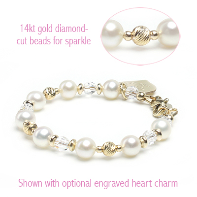 Sunshine and Pearls gold baby and children's bracelet with sparkling diamond cut beads and clear crystal.