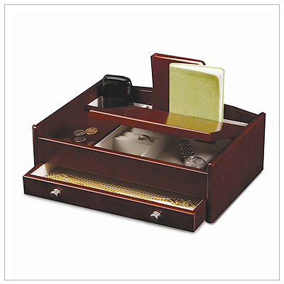 Mens wood jewelry box with a hinged lid, lined interior, ring rolls, and pull-out drawer. Top has storage for cell phone and loose change.