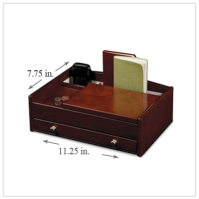 Men's finely crafted wooden valet with multiple compartments, pull-out drawer, and storage for electronics.