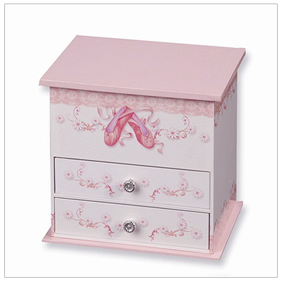 Musical jewelry box for girls with deep upper compartments, ballerina, pink interior, and two drawers.