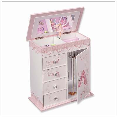 Girls musical jewelry box with pop-up ballerina, four drawers, and door with necklace hooks.