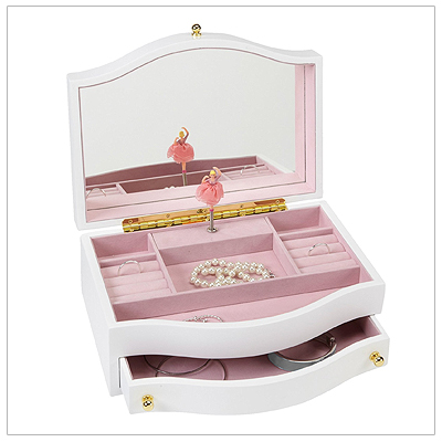 Gloss white musical jewelry box for girls with a pop-up ballerina, hinged lid, pull out drawer, multiple compartments and ring rolls.