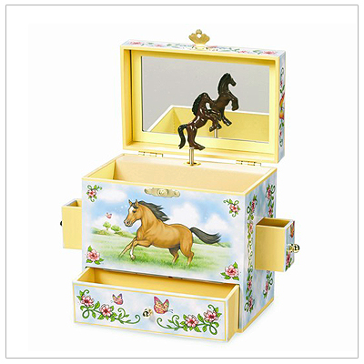 Musical jewelry box for girls with pop-up horse. Hinged lid with mirror, fully lined, multiple compartments and drawers.