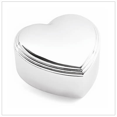Heart shaped jewelry box with velveteen interior. Personalize the lid, engraving included.