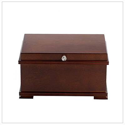 Fine wooden jewelry box for girls with a walnut finish; hinged lid with mirror, lined interior, multiple compartments, ring rolls.