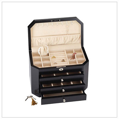 Ladies fine wooden jewelry chest with soft lined interior; hinged lid with multiple compartments and necklace hooks, ring rolls, and three pull-out drawers. Gloss black finish.