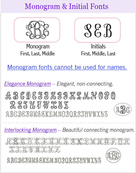 Monogram and initial engraving fonts
