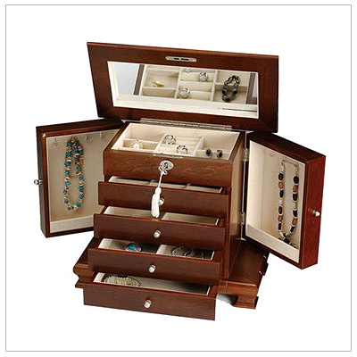 Locking jewelry box for teens and ladies in solid wood. 4 drawers, 2 swing out doors, hinged lid with mirror plus ring rolls and necklace hooks.