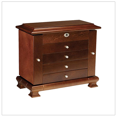 Hand crafted jewelry box with a walnut finish. The locking jewelry box has 4 drawers, 2 doors, faux suede interior and plenty of storage.