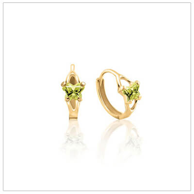 10kt gold huggie earrings for children with tiny butterfly shaped cz birthstones, August shown.