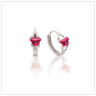 10kt white gold children's huggie earrings with tiny butterfly shaped cz birthstones, July shown.