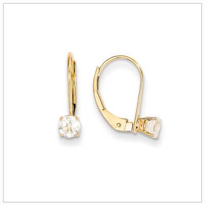 14kt gold lever back birthstone earrings. Beautiful birthstone earrings for April.