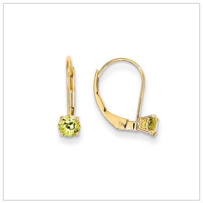 14kt gold lever back birthstone earrings. Beautiful birthstone earrings for August.