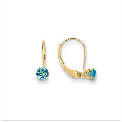 14kt gold lever back birthstone earrings. Beautiful birthstone earrings for December.