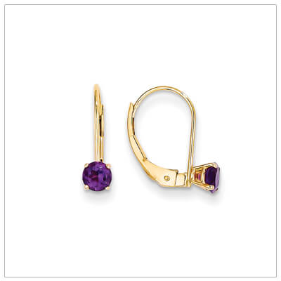 14kt gold lever back birthstone earrings. Beautiful birthstone earrings for February.