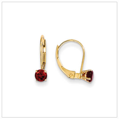 14kt gold lever back birthstone earrings. Beautiful birthstone earrings for January.