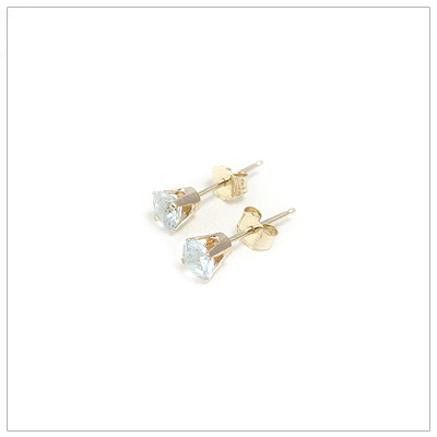 14kt gold March birthstone earrings, classic stud earrings with a push on back.