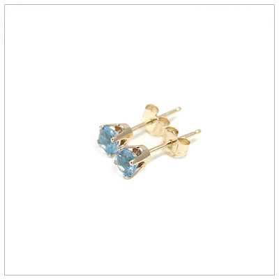 14kt gold December birthstone earrings, classic stud earrings with a push on back.