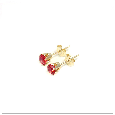14kt gold January birthstone earrings, classic stud earrings with a push on back.