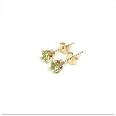 14kt gold August birthstone earrings, classic stud earrings with a push on back.