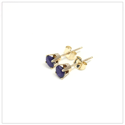 14kt gold September birthstone earrings, classic stud earrings with a push on back.