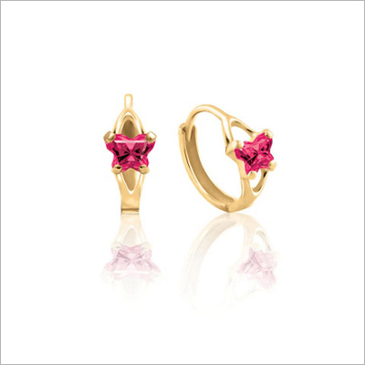 10kt gold children's birthstone earrings. These huggie hoops have tiny butterfly shaped cz birthstones, July shown.