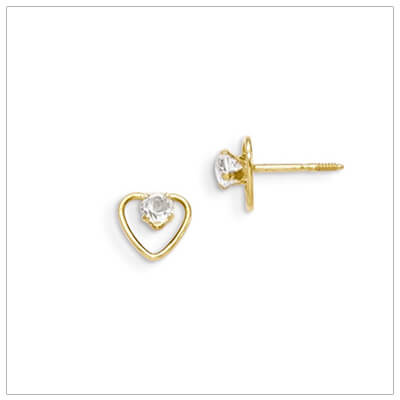 14kt gold heart and birthstone earrings. Beautiful screw back earrings with April birthstone.