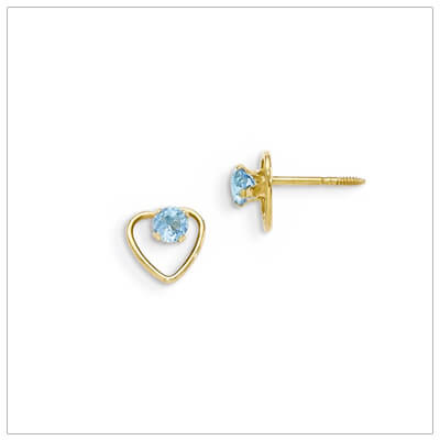14kt gold heart and birthstone earrings. Beautiful screw back earrings with December birthstone.