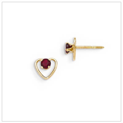 14kt gold heart and birthstone earrings. Beautiful screw back earrings with January birthstone.