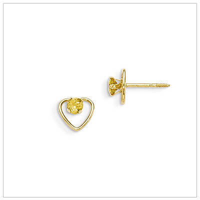 14kt gold heart and birthstone earrings. Beautiful screw back earrings with November birthstone.