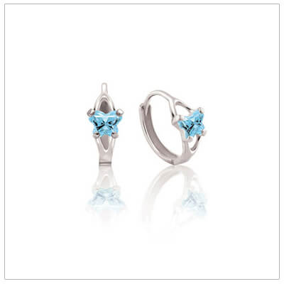 Sterling silver huggie earrings for children with tiny butterfly shaped cz birthstones.