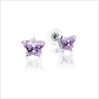 Sterling silver children's earrings with a tiny butterfly shaped cz birthstone.